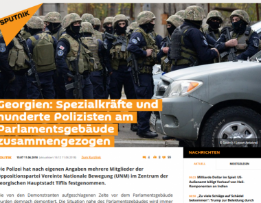 An example of the work of the Russian propaganda machine for the targeted distribution of false information has been supplied by the German branch of the Russian news agency Sputnik News. A report from this agency on a protest in Georgia verifiably contains false content.